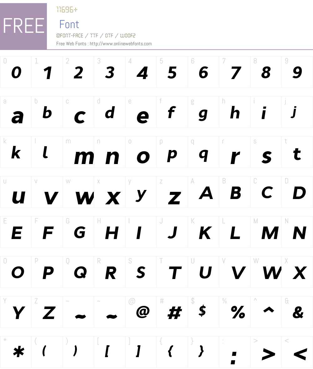 CynthoW00-BlackItalic Font Screenshots