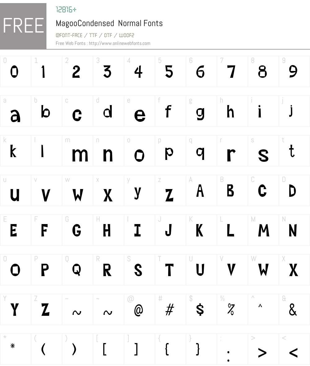 MagooCondensed Font Screenshots