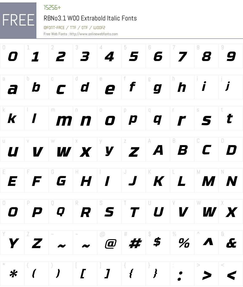 RBNo3.1W00-ExtraboldItalic Font Screenshots