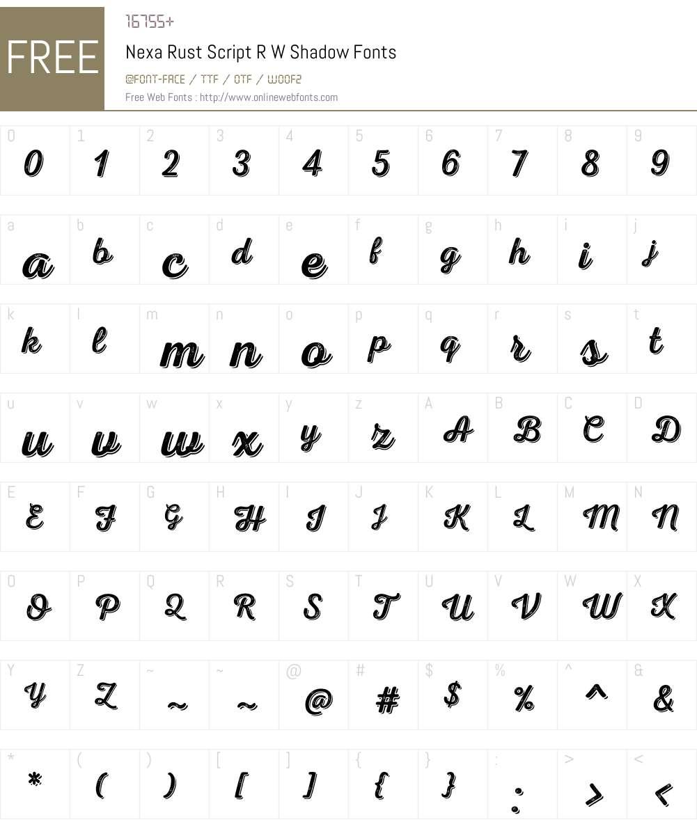 NexaRustScriptRW-Shadow Font Screenshots