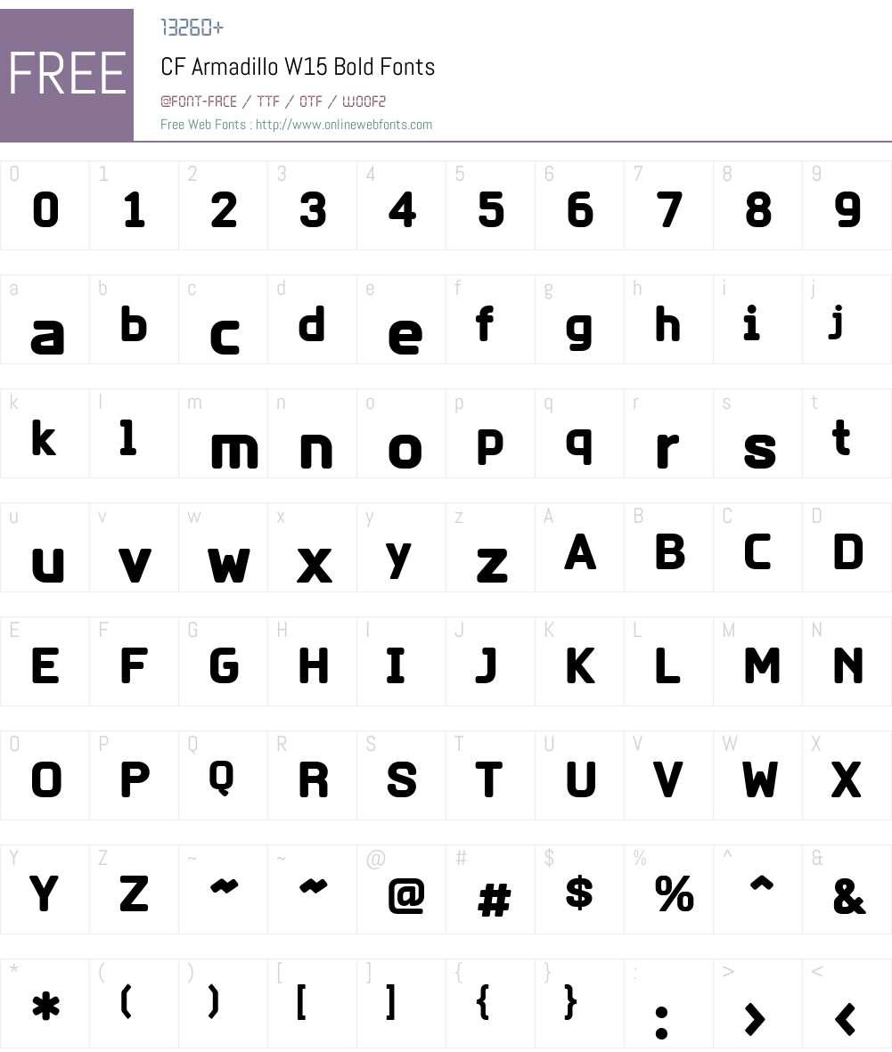 CFArmadilloW15-Bold Font Screenshots