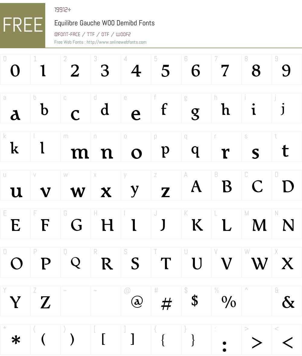 EquilibreGaucheW00-Demibd Font Screenshots