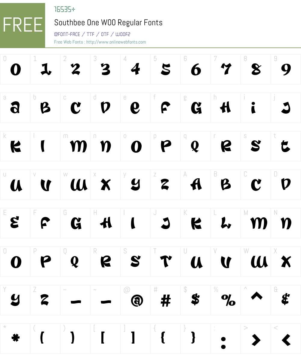 SouthbeeOneW00-Regular Font Screenshots