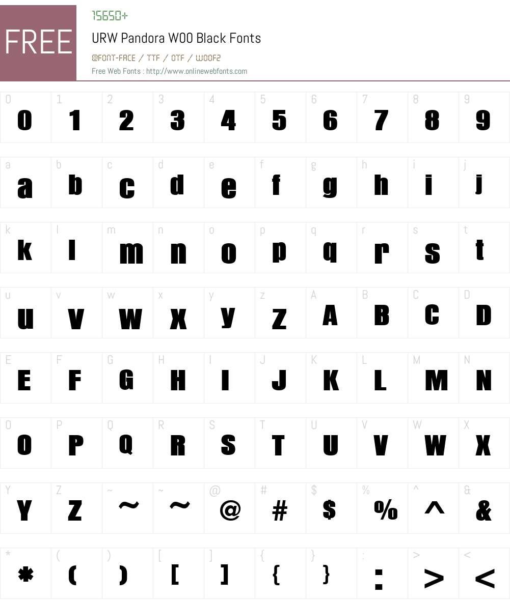 URWPandoraW00-Black Font Screenshots