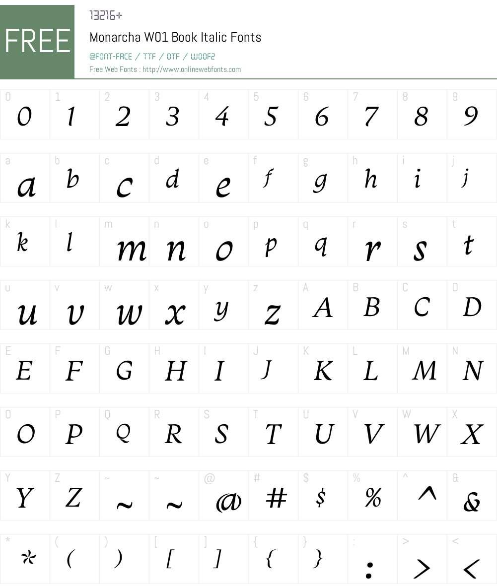 MonarchaW01-BookItalic Font Screenshots