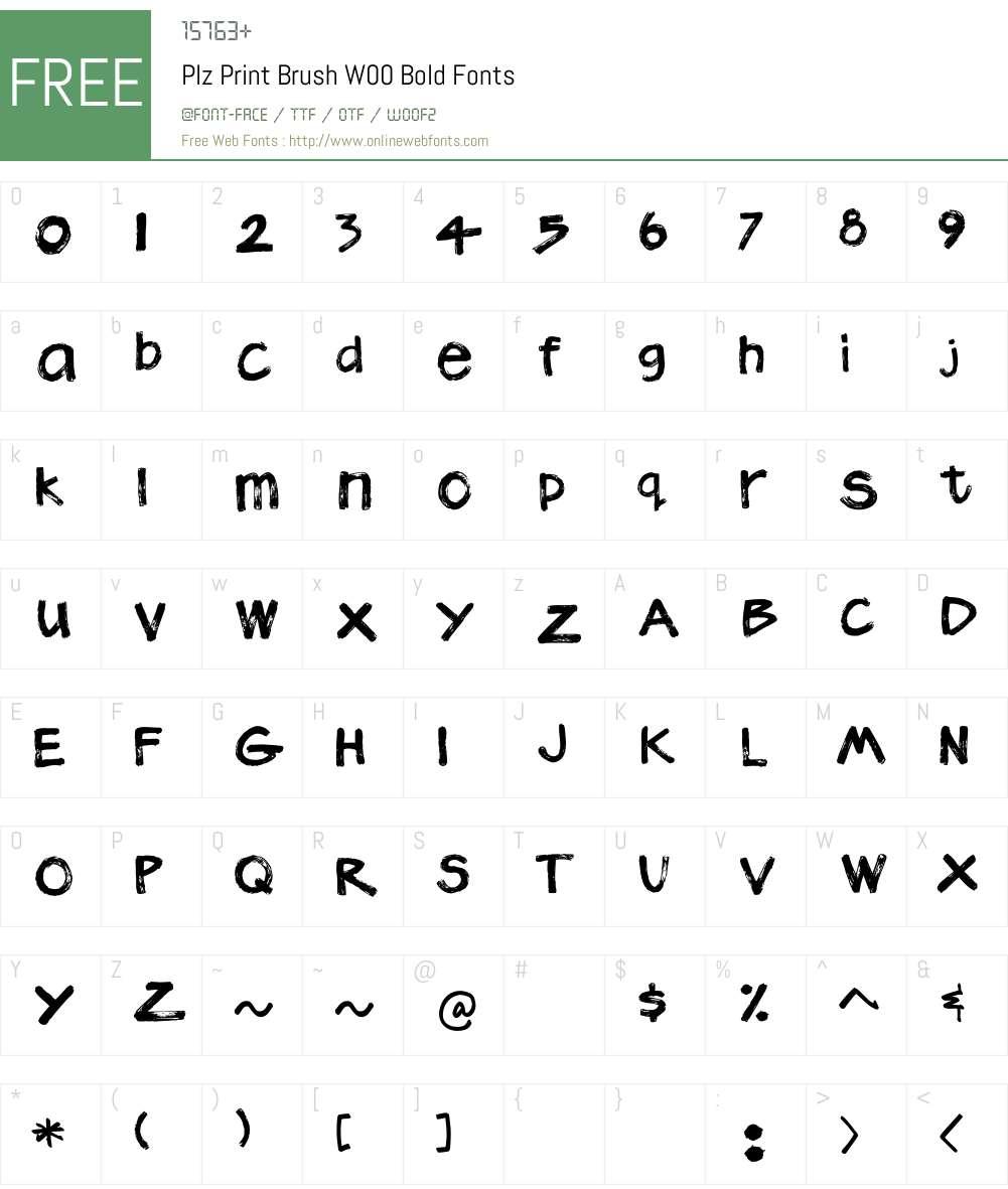PlzPrintBrushW00-Bold Font Screenshots