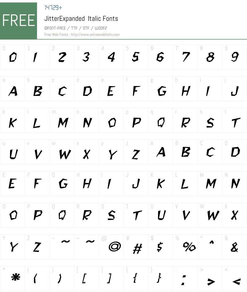 JitterExpanded Font Screenshots