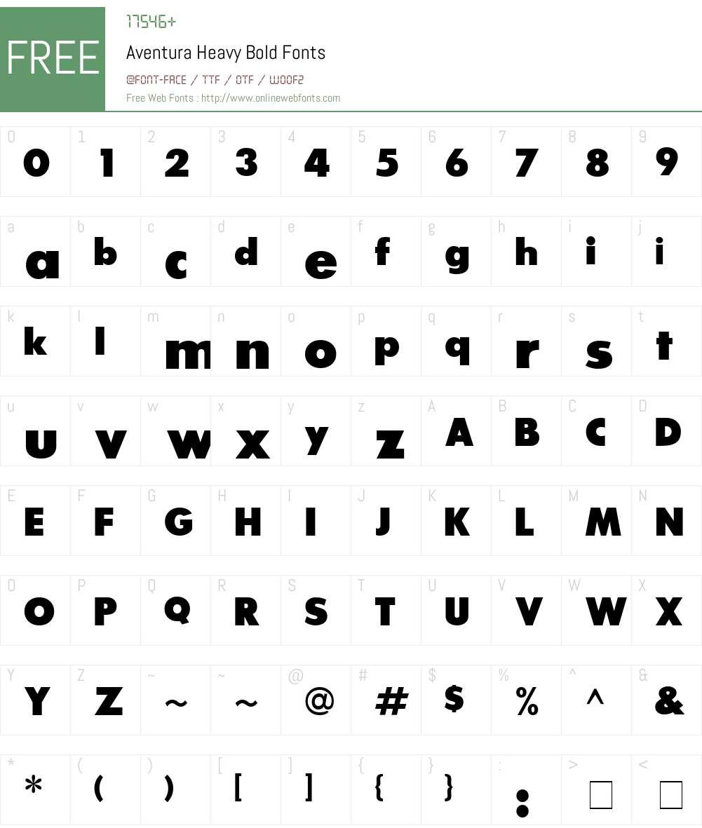 Aventura Heavy Font Screenshots