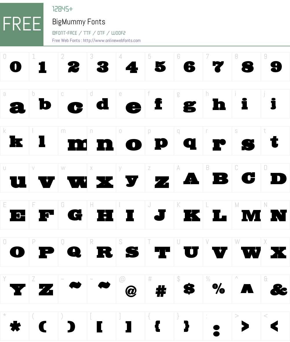 BigMummy Font Screenshots
