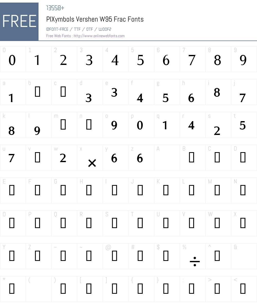 PIXymbolsVershenW95-Frac Font Screenshots