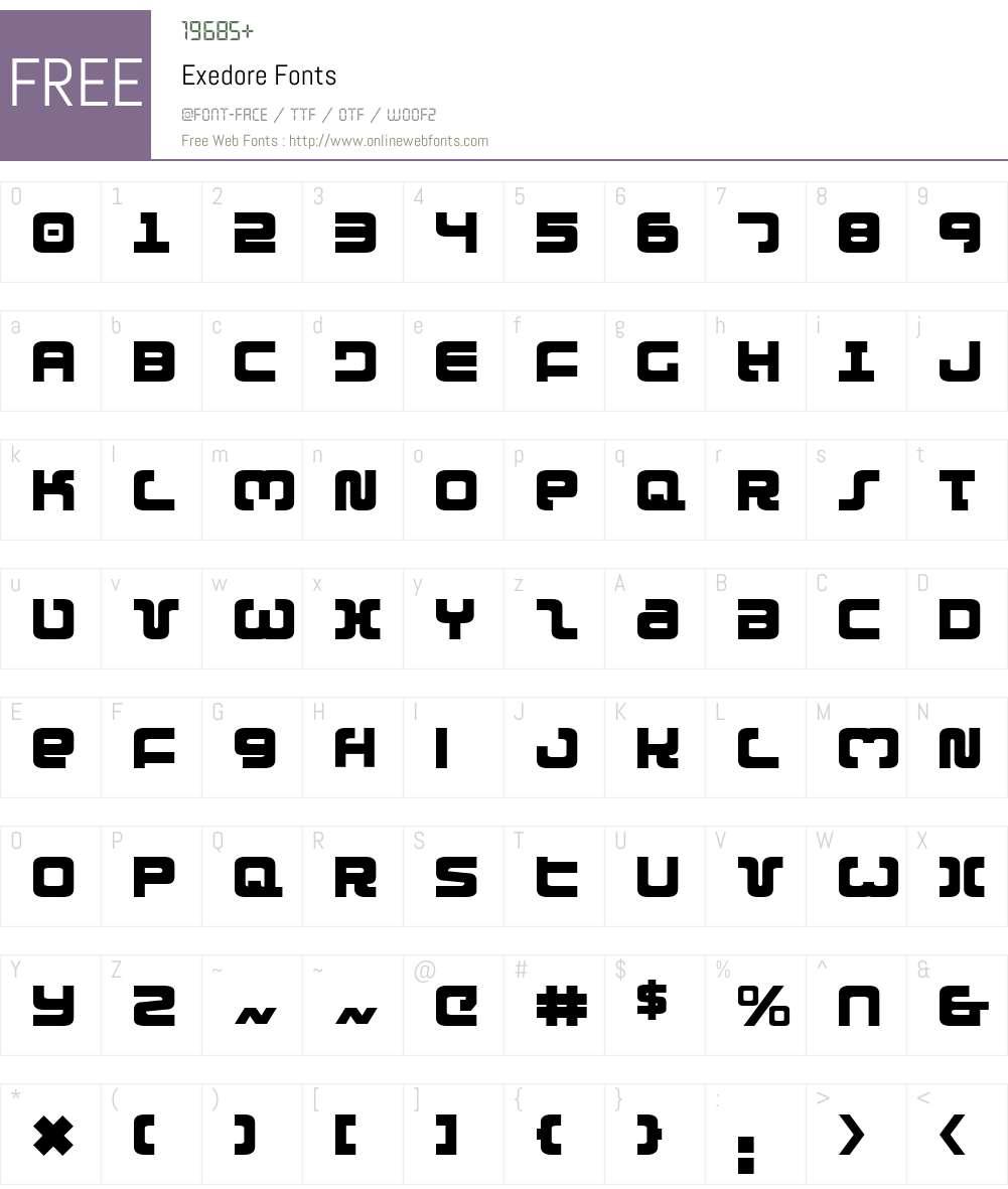 Exedore Font Screenshots