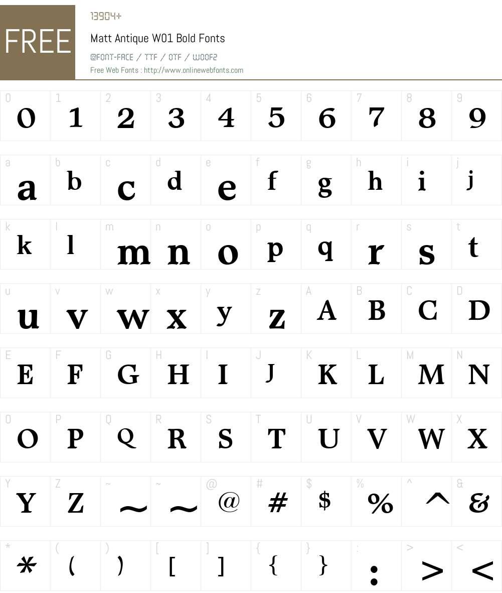 MattAntiqueW01-Bold Font Screenshots