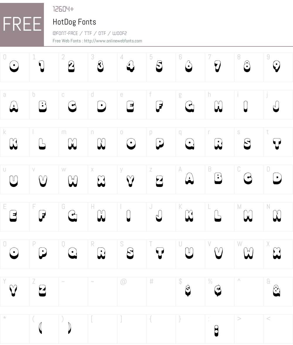 HotDog Font Screenshots