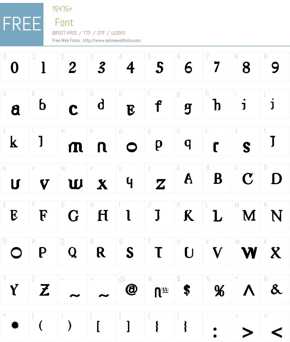 Nameless Font Screenshots