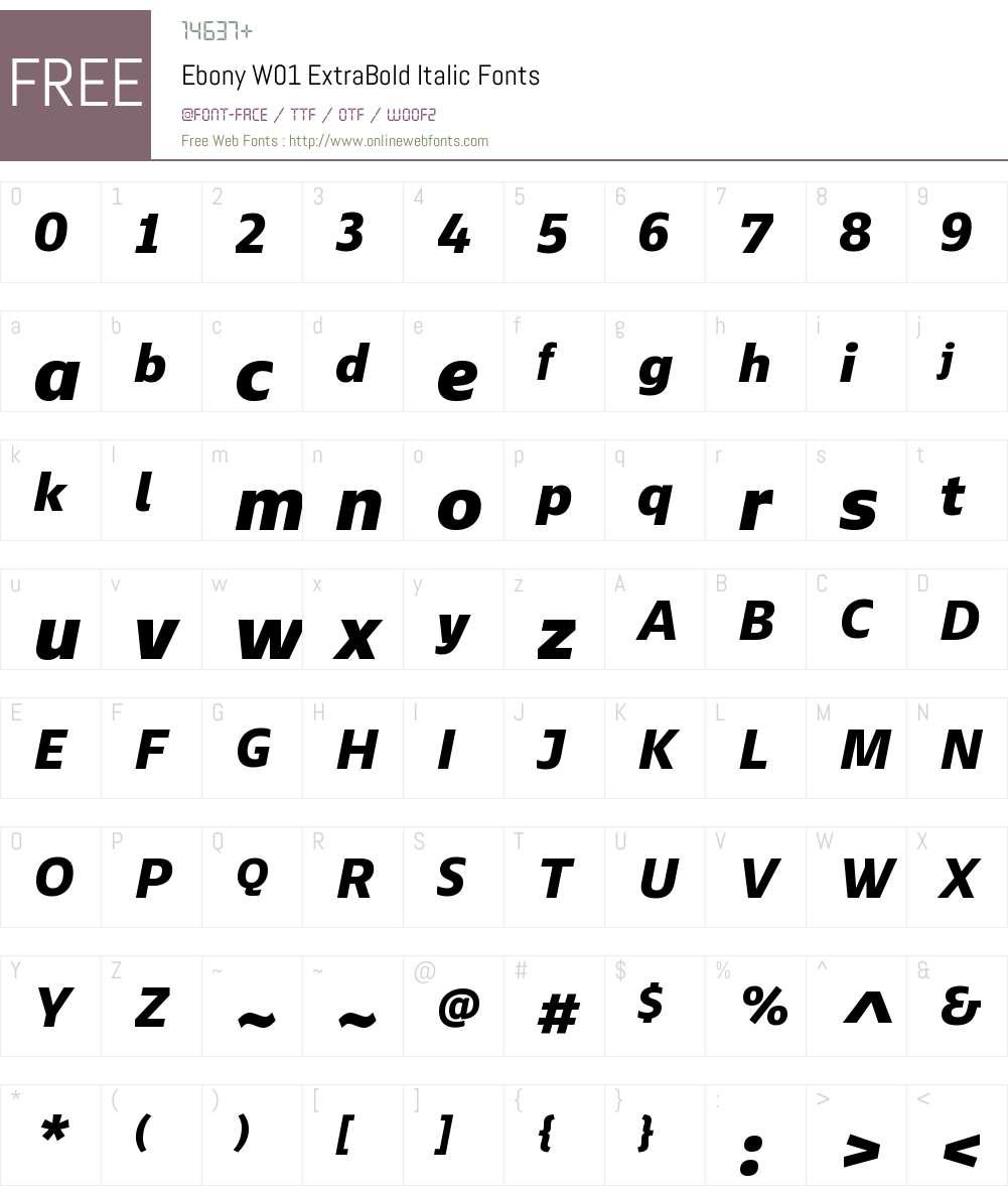 EbonyW01-ExtraBoldItalic Font Screenshots