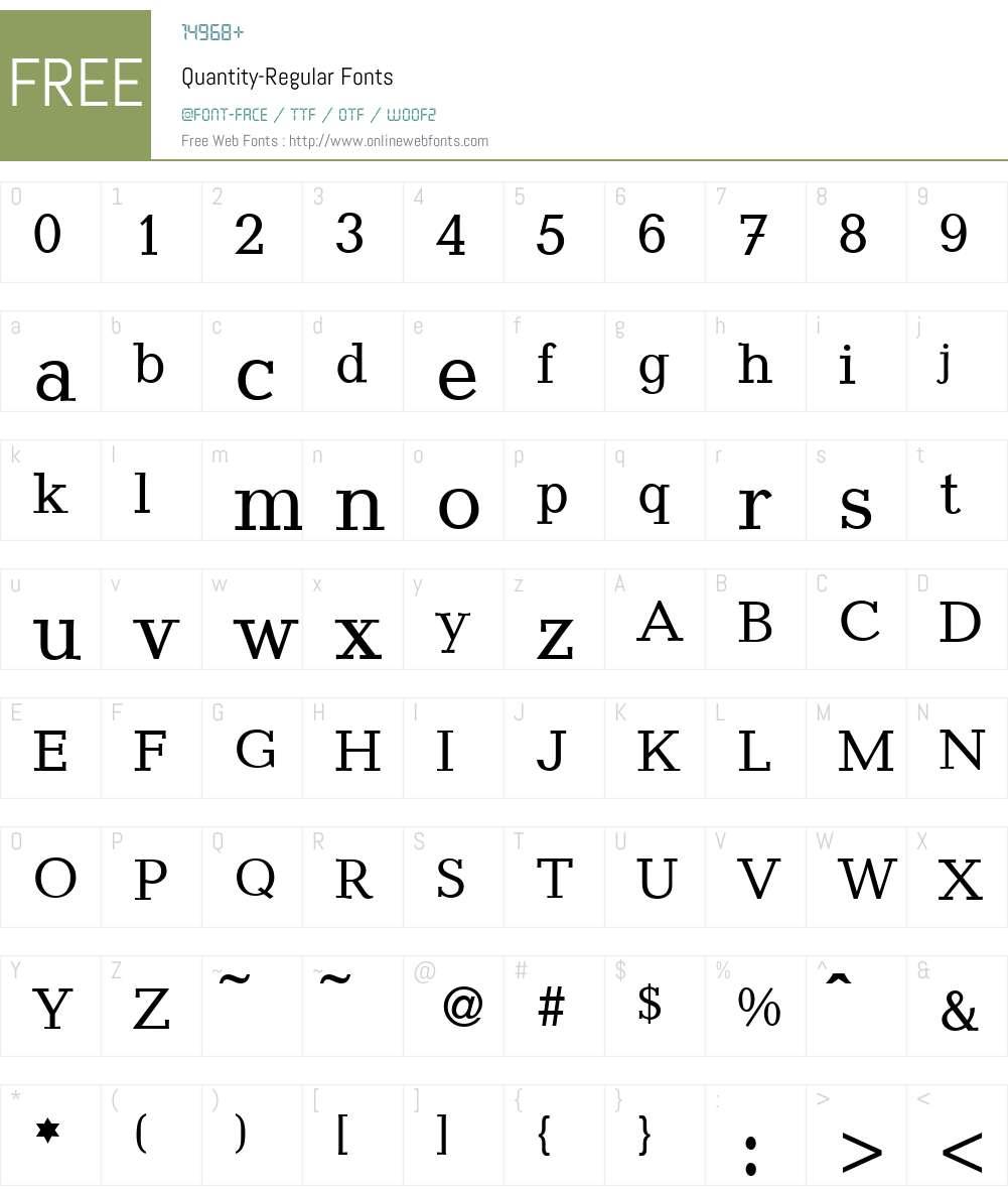 Quantity Font Screenshots