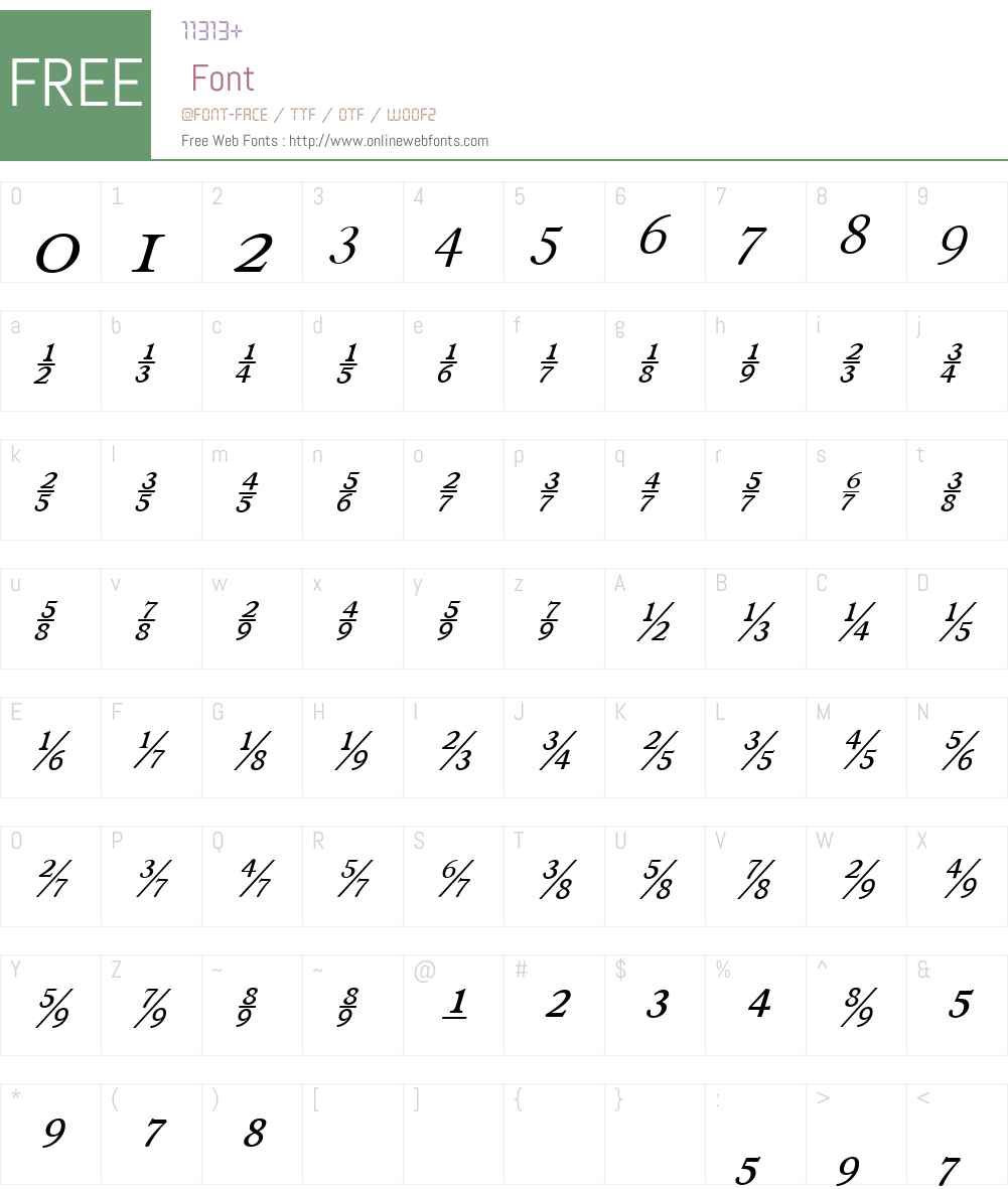 RonaldsonW00-ItalFractions Font Screenshots