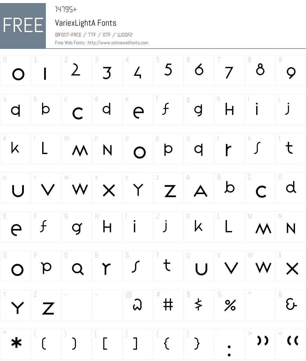 VariexLight Font Screenshots