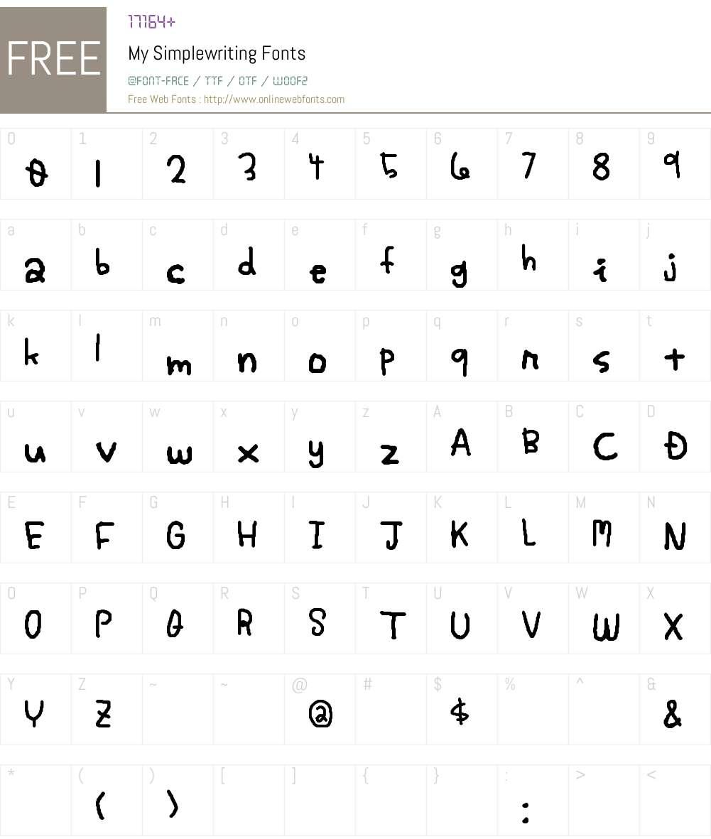 My Simplewriting Font Screenshots