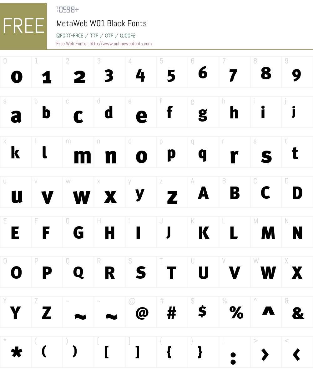 MetaWebW01-Black Font Screenshots