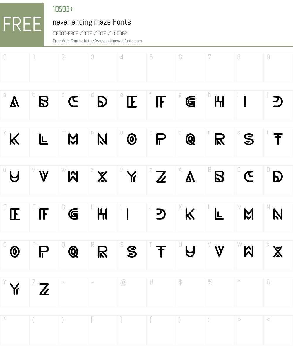never ending maze Font Screenshots