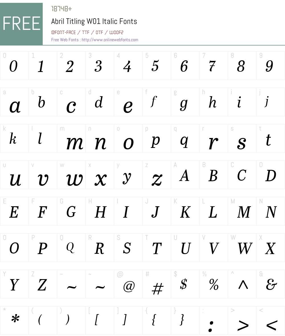 AbrilTitlingW01-Italic Font Screenshots