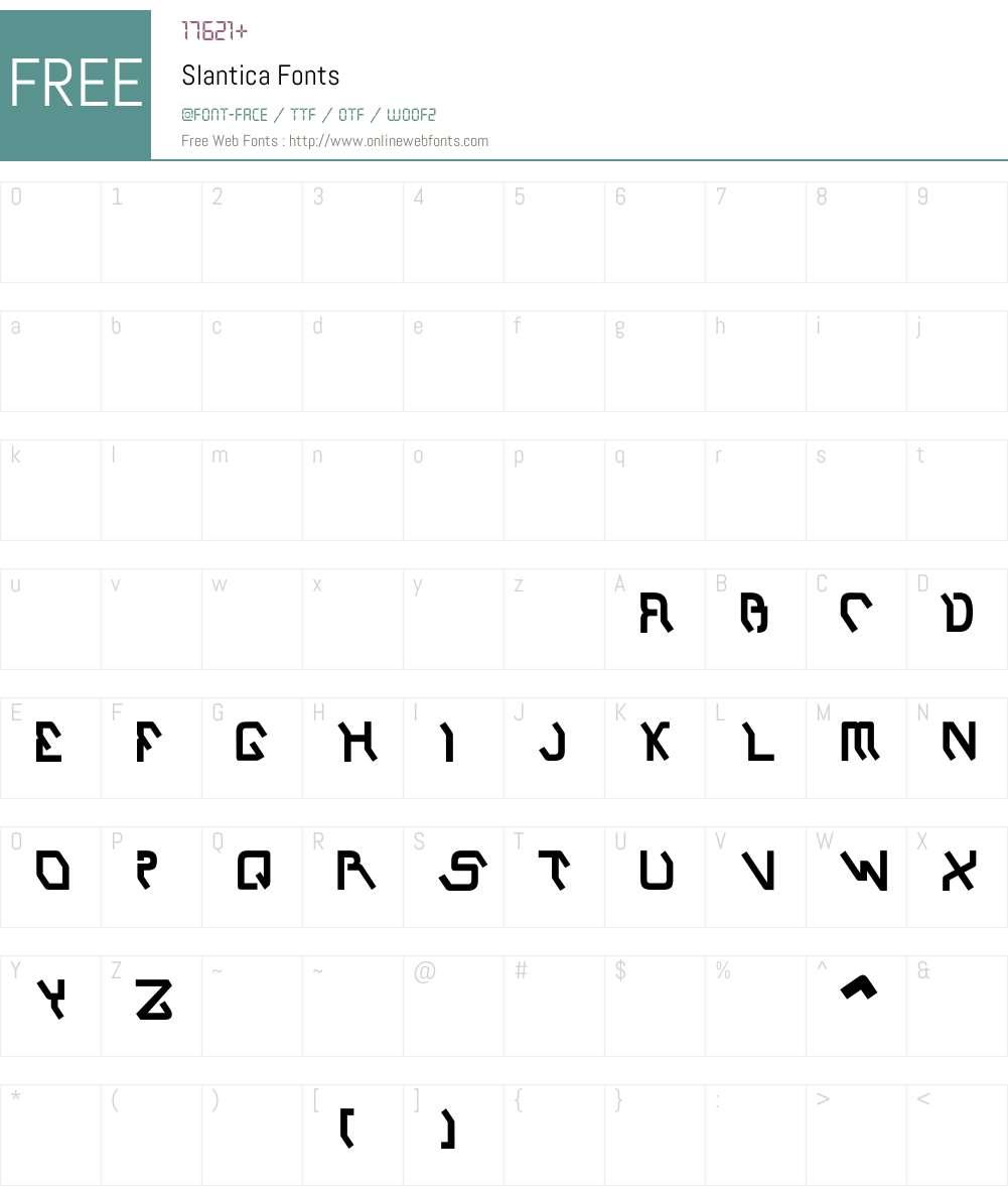 Slantica Font Screenshots