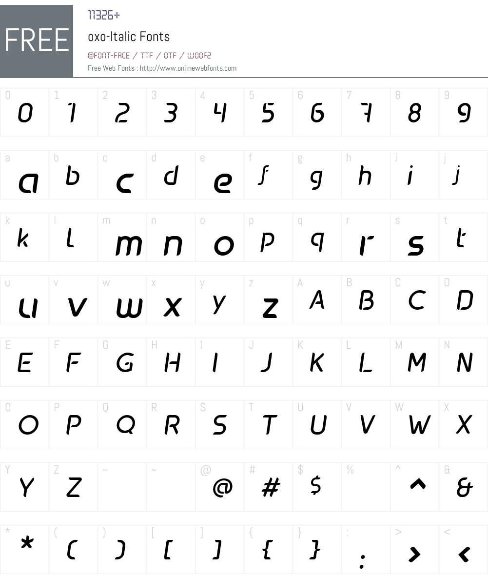 oxo-Italic Font Screenshots
