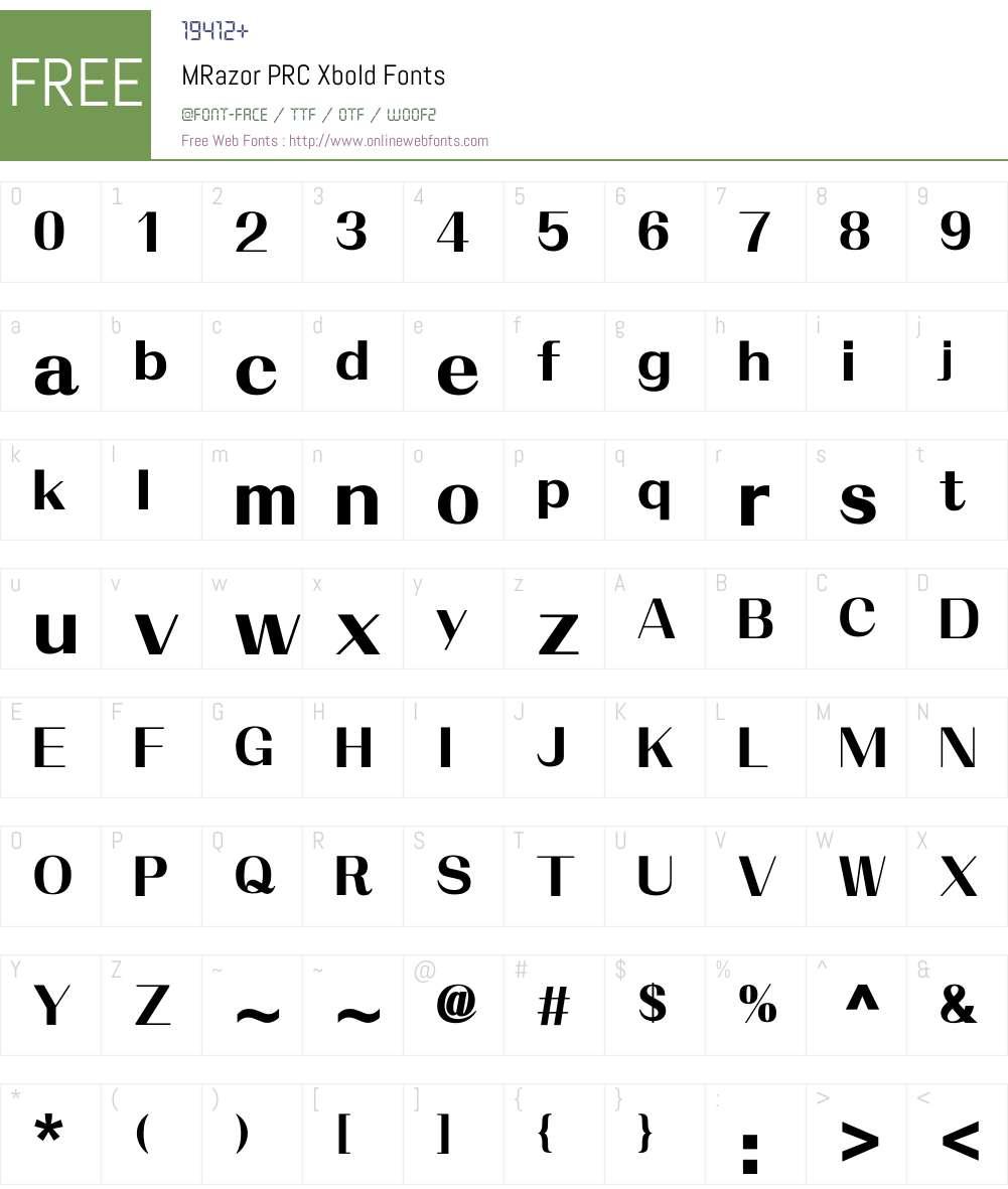 M Razor PRC Font Screenshots