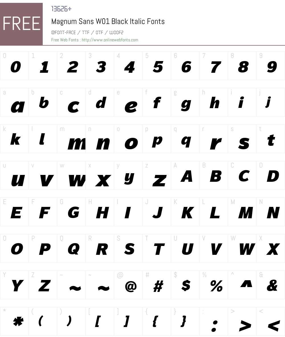 MagnumSansW01-BlackItalic Font Screenshots