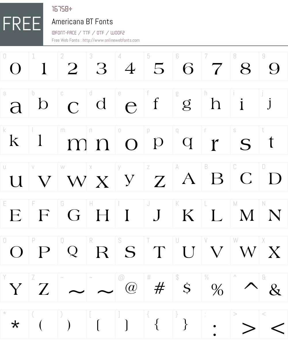 Americana Font Screenshots