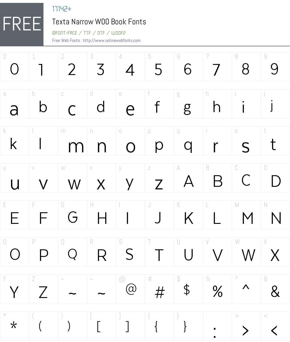 TextaNarrowW00-Book Font Screenshots