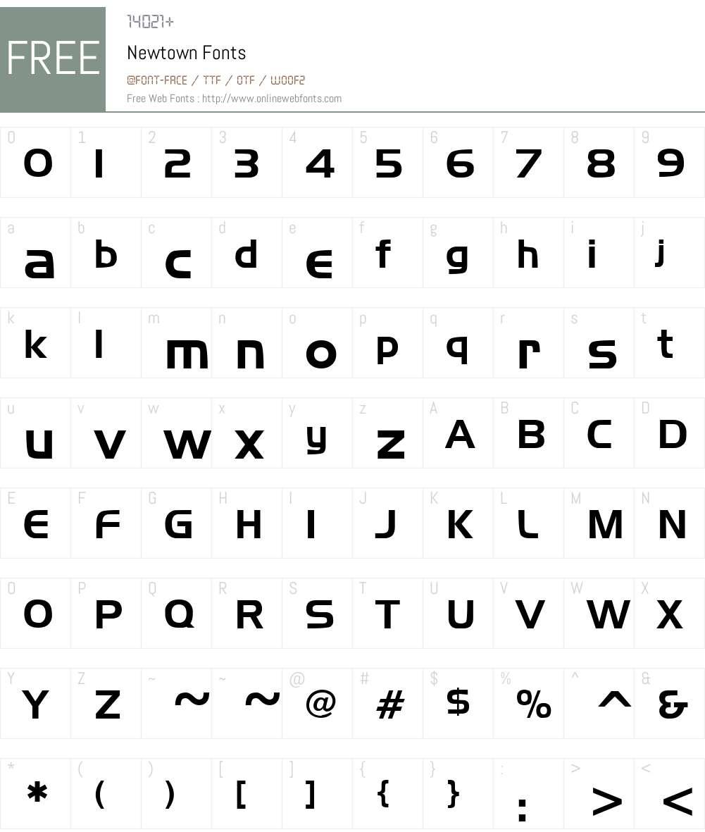 Newtown Font Screenshots
