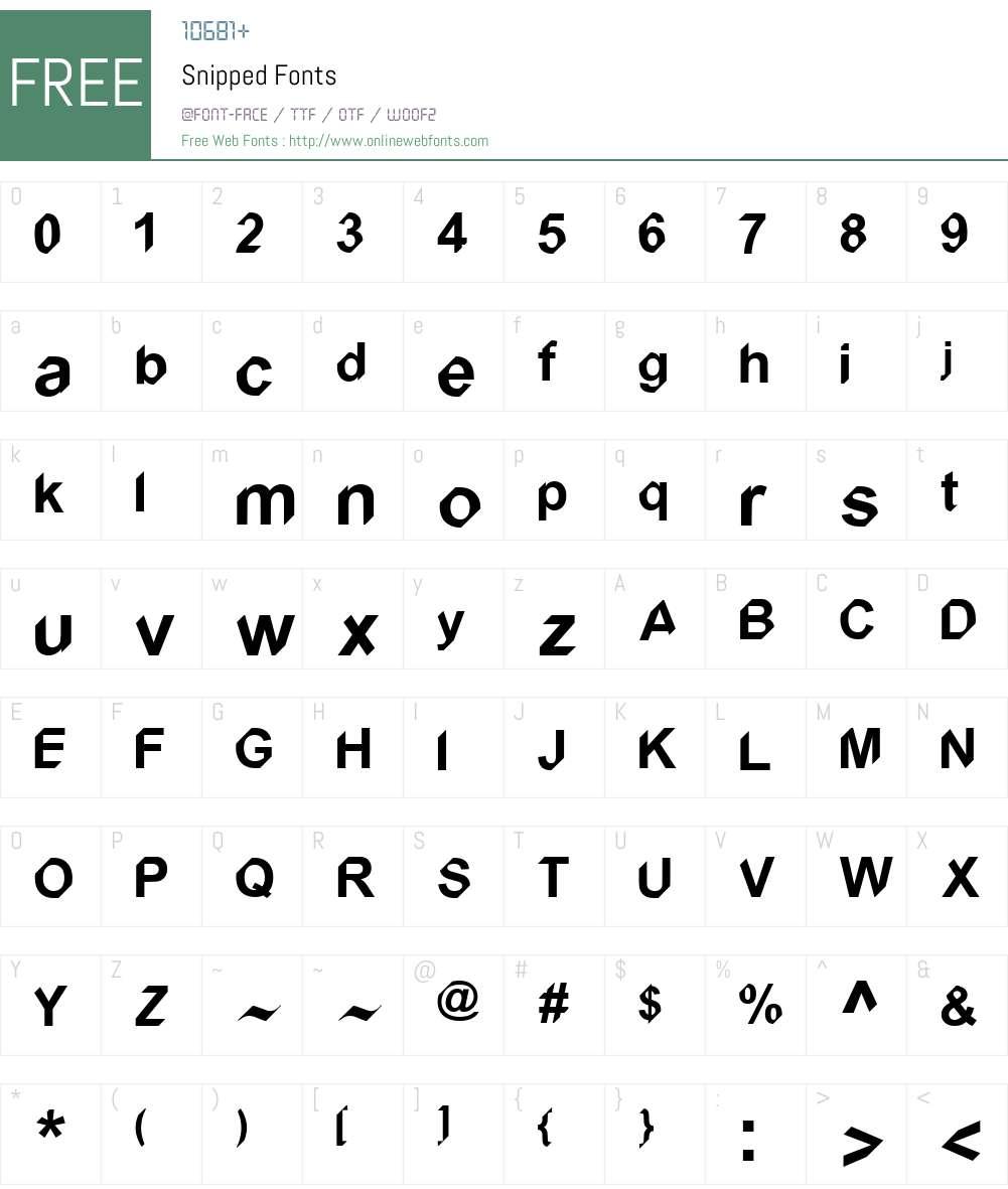 Snipped Font Screenshots