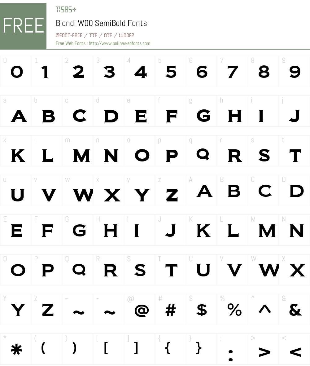 BiondiW00-SemiBold Font Screenshots