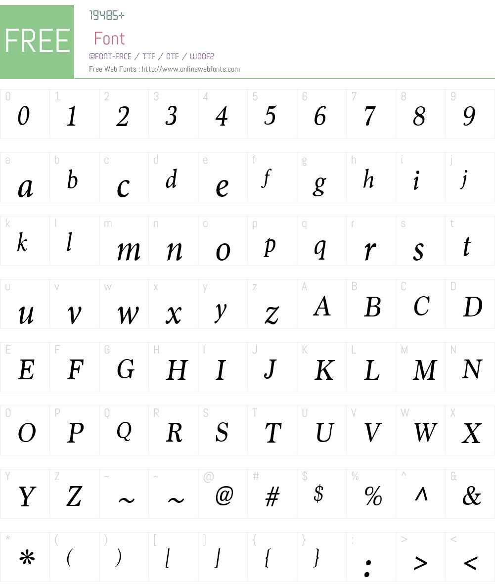 MarionW00-Italic Font Screenshots
