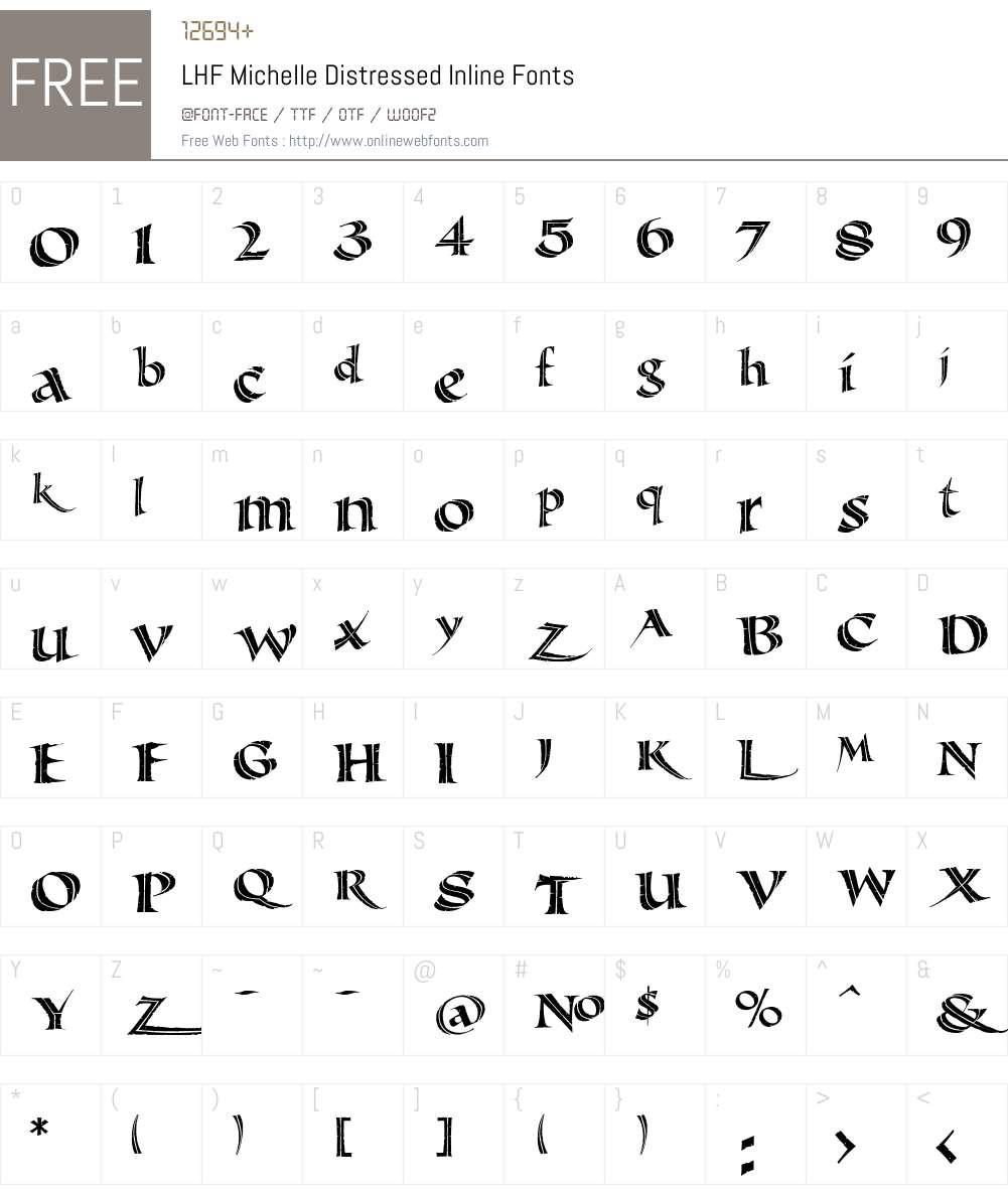LHF Michelle Distressed Inline Font Screenshots