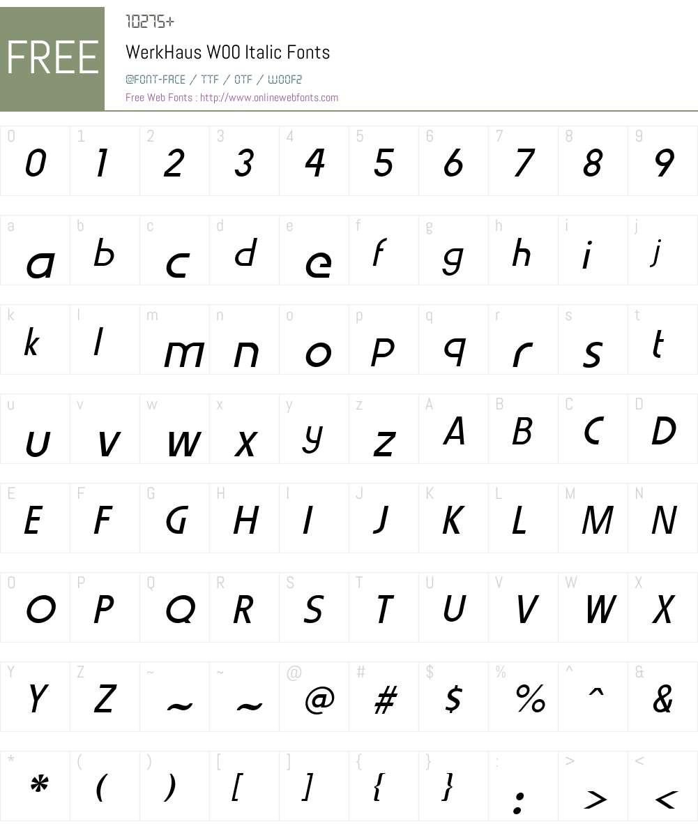 WerkHausW00-Italic Font Screenshots