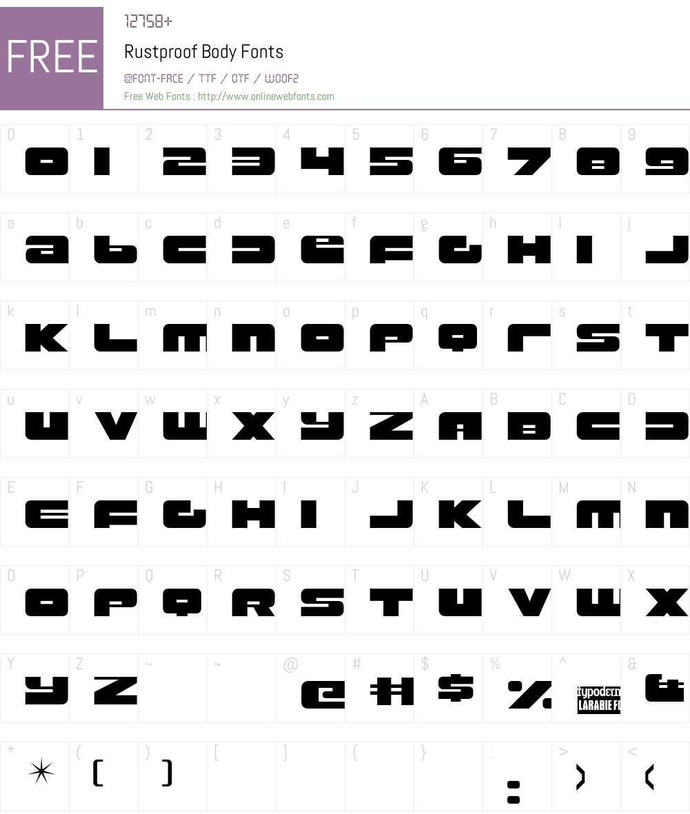 Rustproof Body Font Screenshots