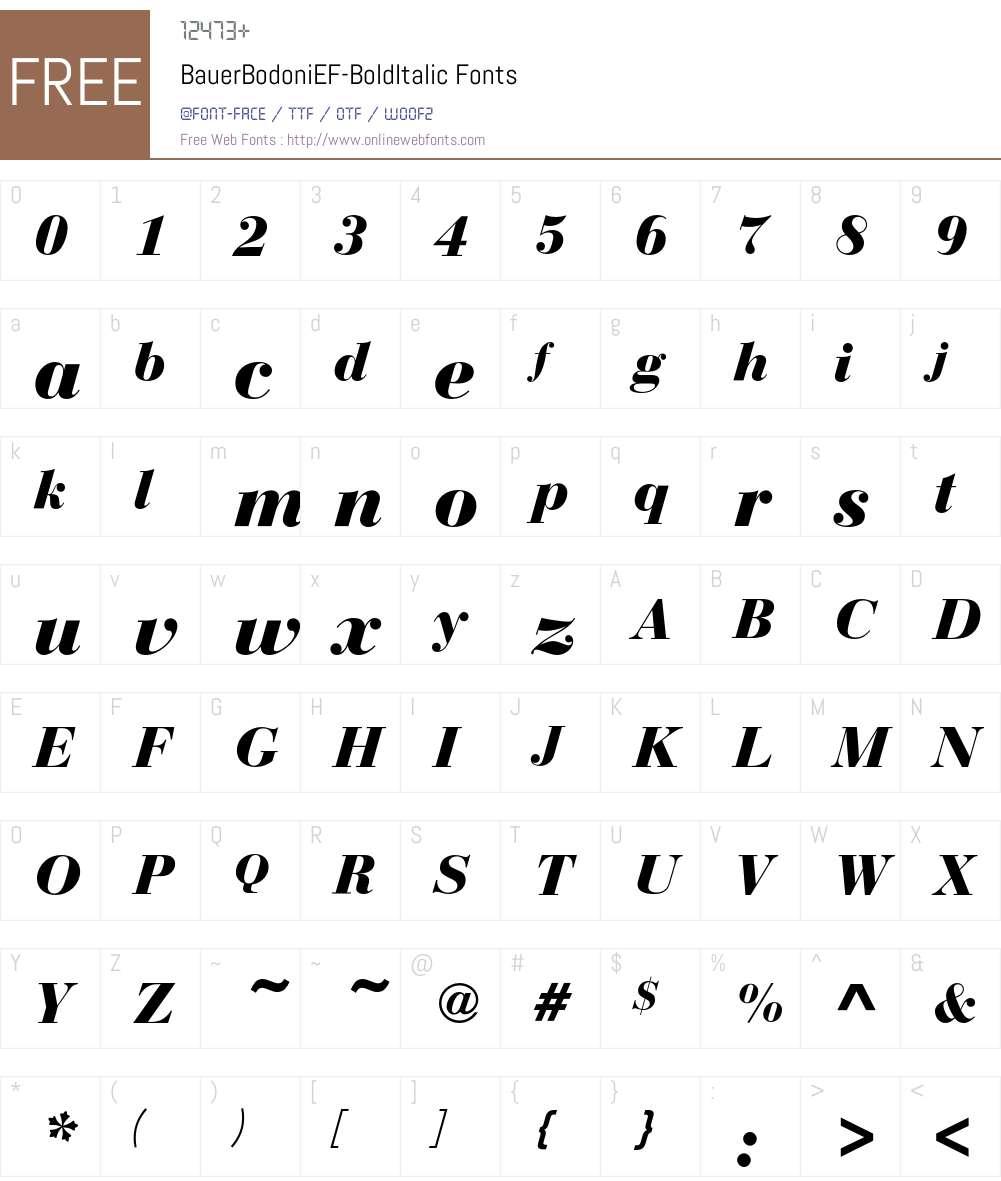 BauerBodoniEF Font Screenshots