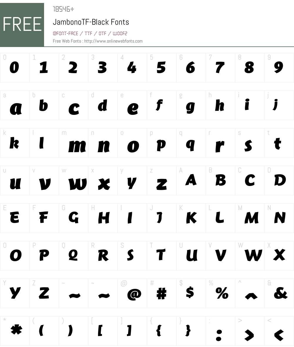 JambonoTF-Black Font Screenshots