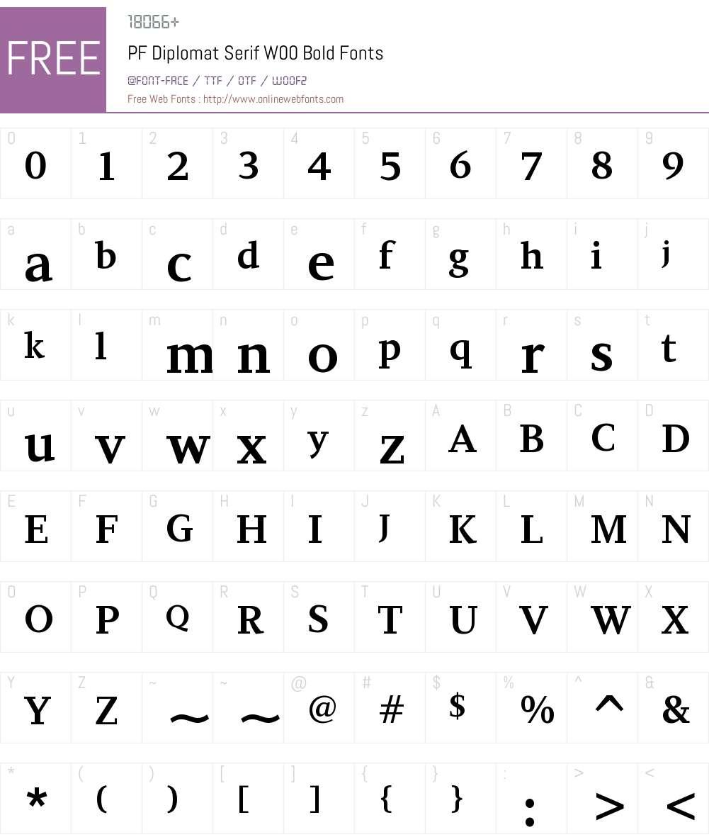 PFDiplomatSerifW00-Bold Font Screenshots
