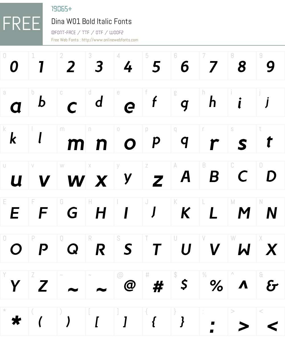 DinaW01-BoldItalic Font Screenshots