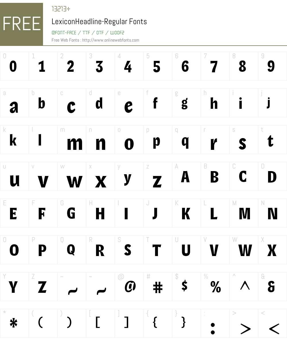 LexiconHeadline Font Screenshots
