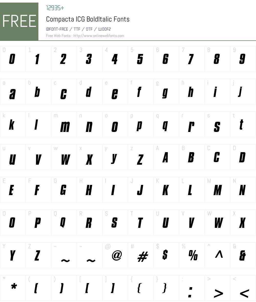Compacta ICG Font Screenshots