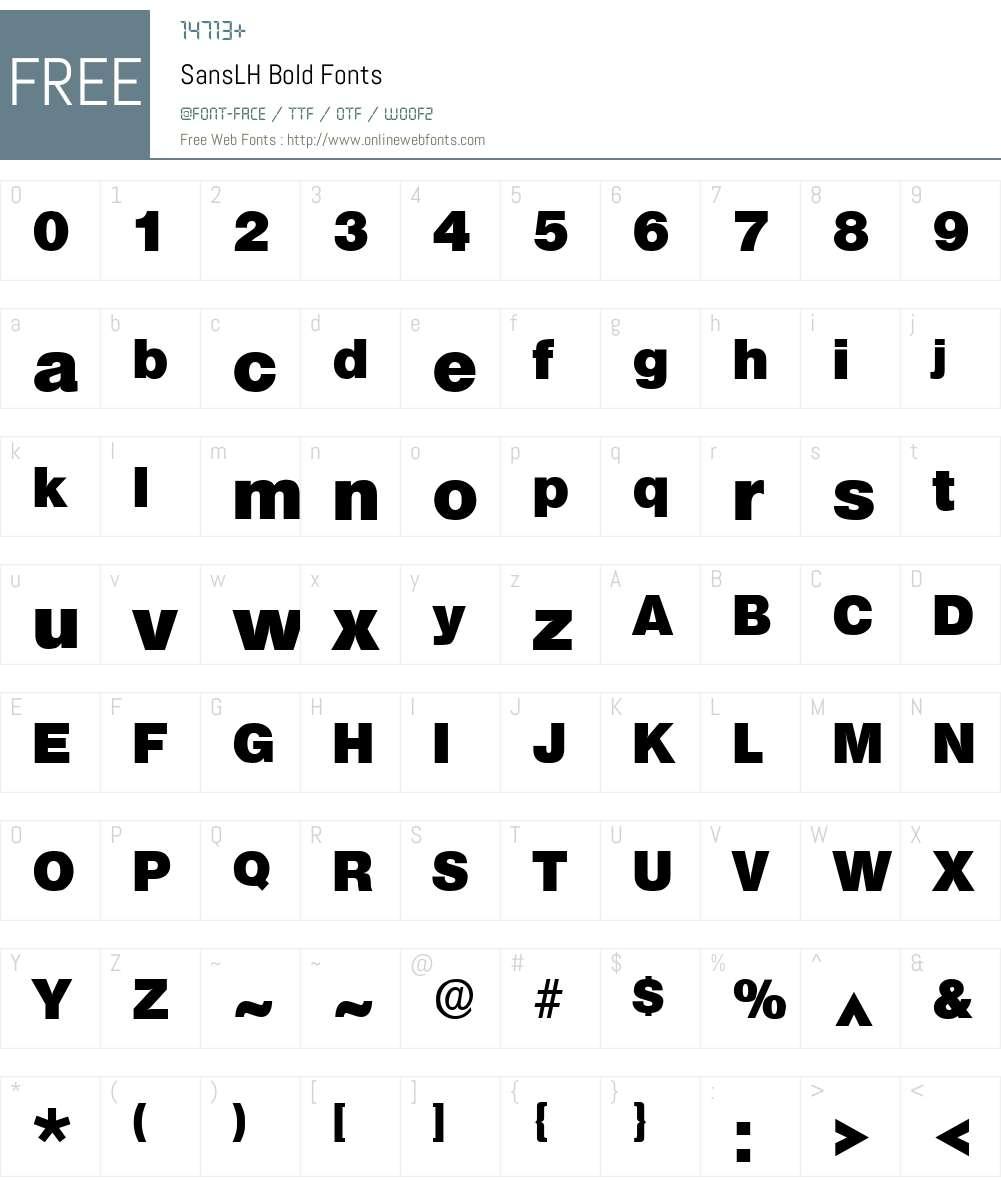 SansLH Font Screenshots