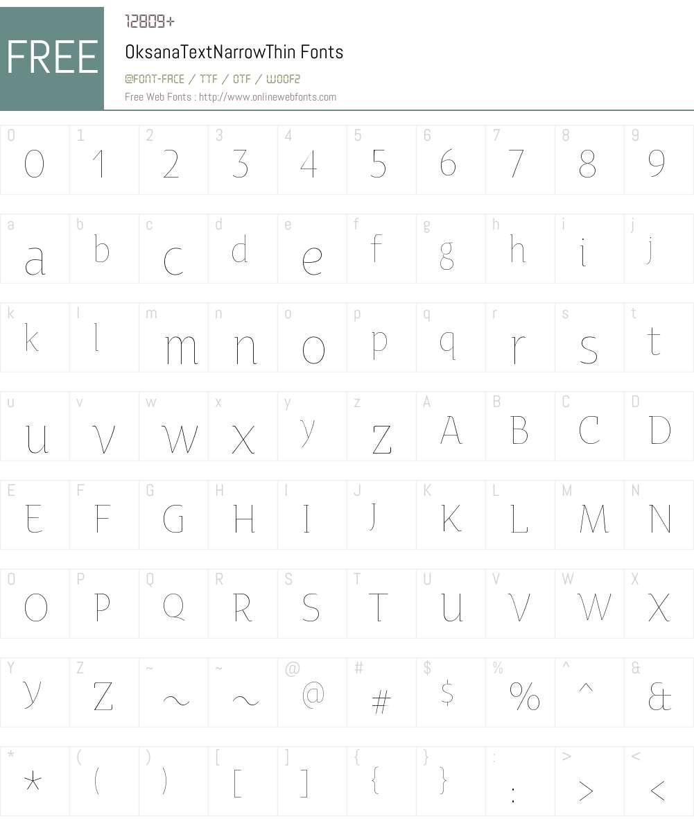 Oksana Text Narrow Thin Font Screenshots