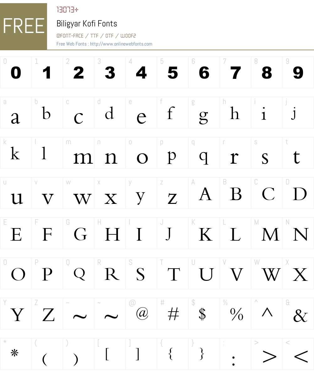 Biligyar Kofi Font Screenshots