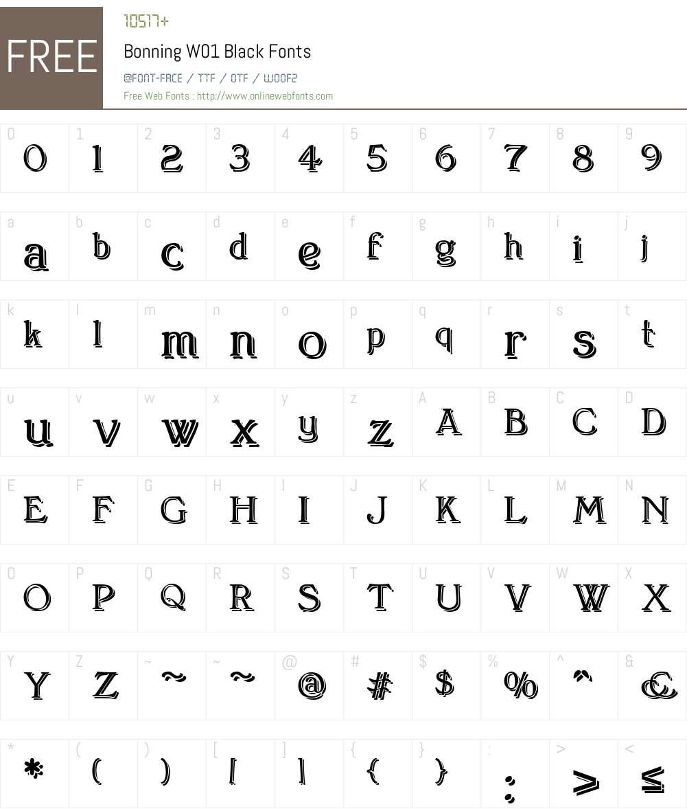 BonningW01-Black Font Screenshots