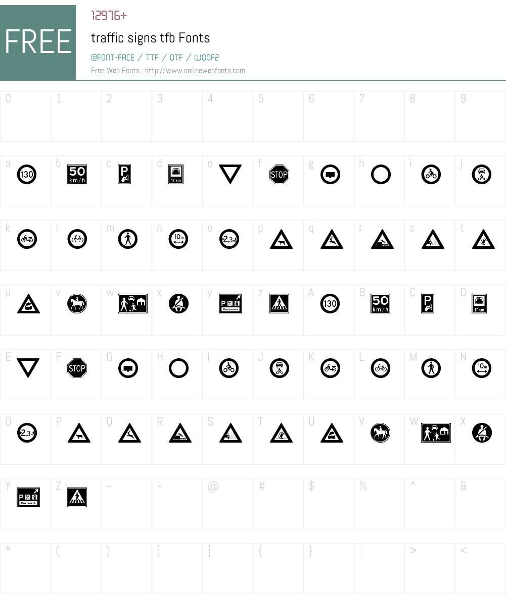 traffic signs tfb Font Screenshots